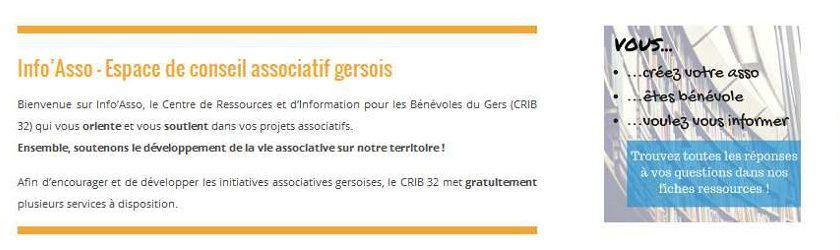 Capture d'écran de la page d'accueil du site Info'Asso 32 - CRIB du Gers