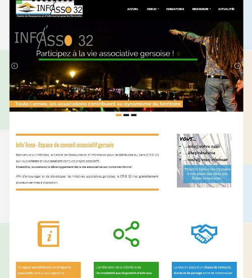 Capture d'écran du site Info'Asso 32 - CRIB du Gers