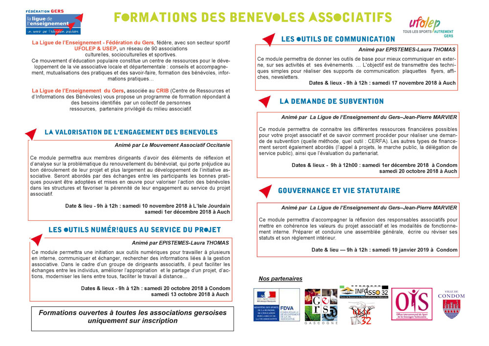 Programme de formation de la Ligue de l'Enseignement 2018-2019